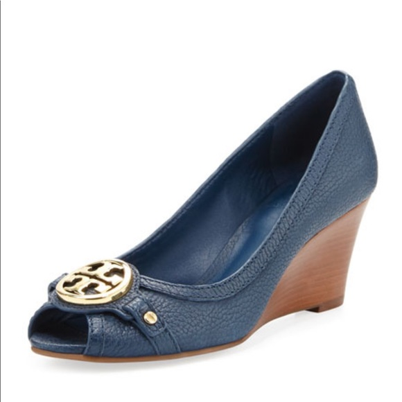 56a7a1d6271fef Tory Burch Leticia Peep-Toe Mid Wedge Newport Navy